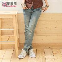 牛仔/丹寧服飾到牛仔褲--細直小腿冰藍色粉紅鑽釦刷白低腰窄管直統牛仔褲(S-7L)-N19眼圈熊中大尺碼
