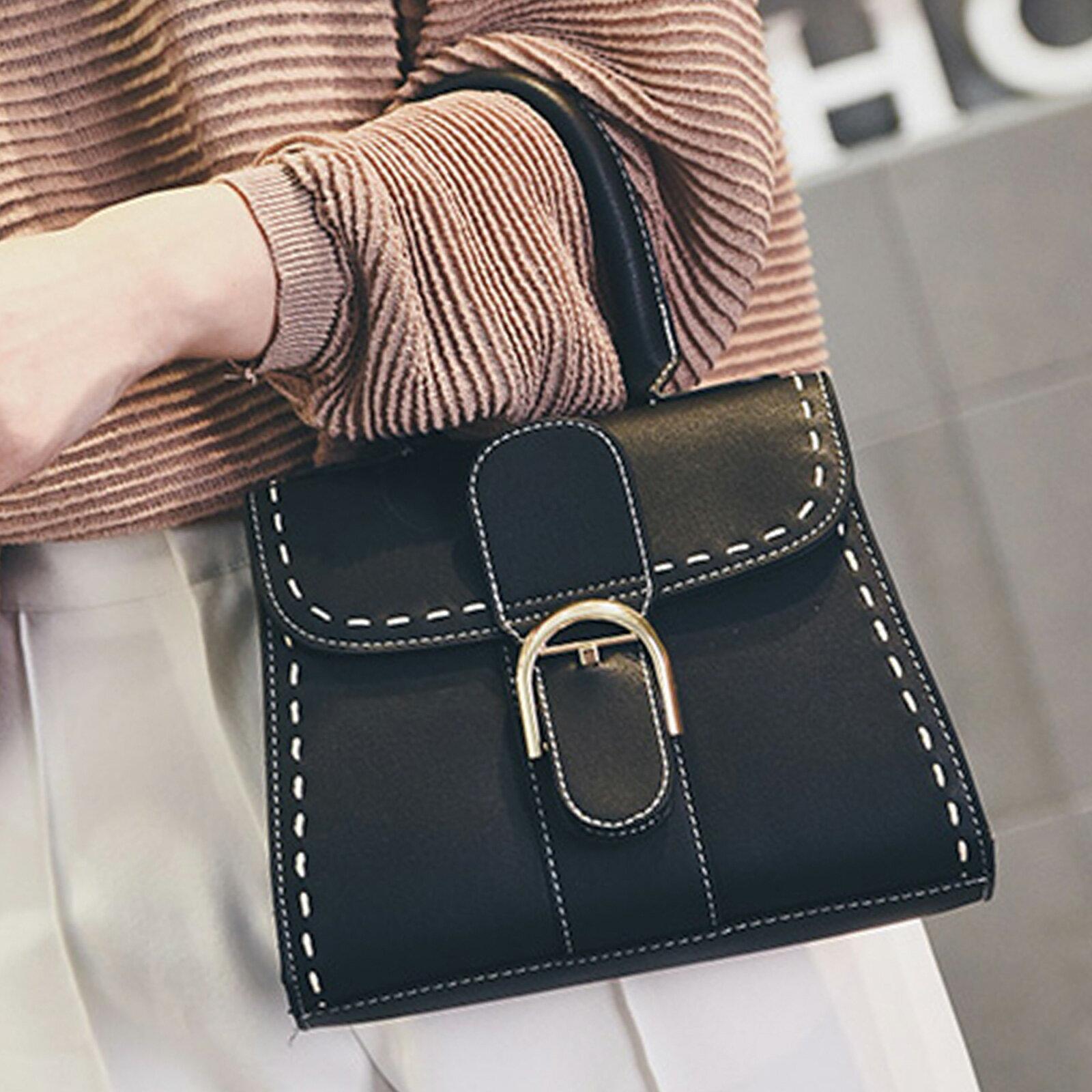 手提包 韓版時尚扣環小方包側背包【O3153】☆雙兒網☆ 3