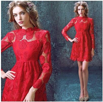 天使嫁衣~AE5732~紅色玫瑰花型蕾絲網長袖短禮服˙ 訂製款