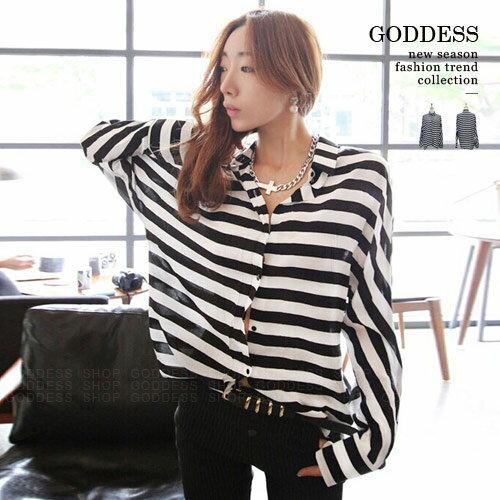 均一價390~嘉蒂斯上衣 黑白條紋寬鬆長袖襯衫~071535~1色