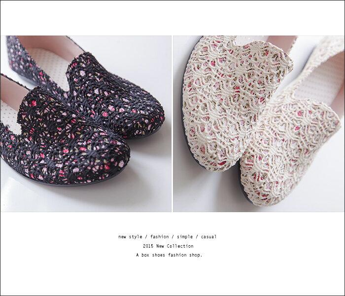 格子舖*【AW663】MIT台灣製 焦點目光彩繪花布花朵 蕾絲透視設計 懶人鞋 平底包鞋 2色 2