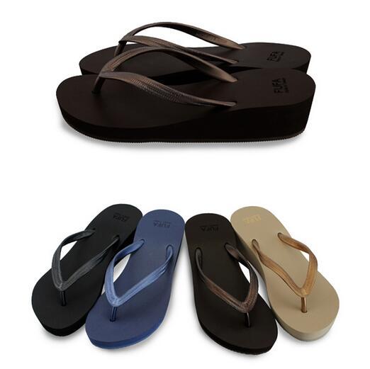 【My style】富發牌-PPDC02 楔型淑女海灘拖鞋 黑.藍.咖,S.M.L號。任兩雙免運