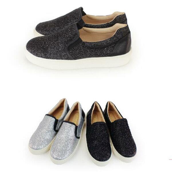 【My style】富發牌-N68 拼接亮片便鞋 黑.銀,23-25號。任兩雙免運