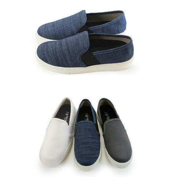 【My style】富發牌R48~側繃帶純色便鞋-懶人鞋(藍.白.灰)23-25號-任兩雙免運