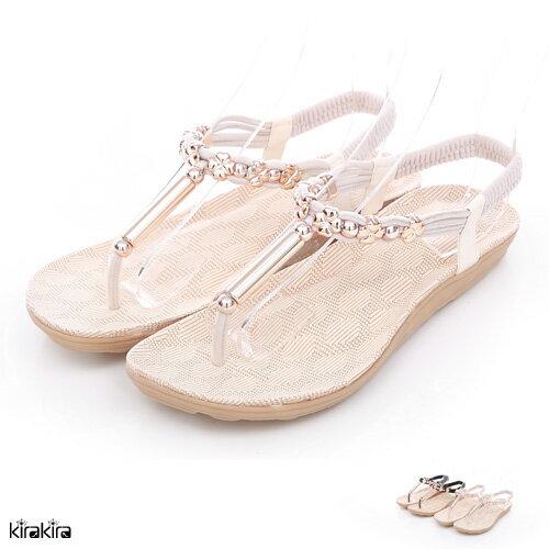 夾腳鞋  SALE 幸運草金飾Q底平底涼鞋 【011600059】