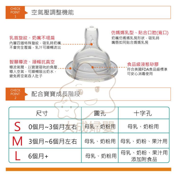 【大成婦嬰】Combi Kuma Kun 標準十字孔奶嘴系列 S、M、L (2入/組) 3種尺寸 0-6適用 1