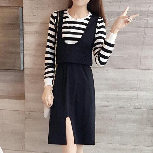 ~ORead~條紋兩件套連身裙^(黑色XL^~5XL^)