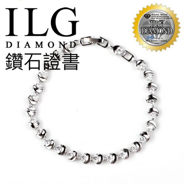 【ILG鑽】頂級八心八箭鑽石手鍊-玄月之音款手鍊 BR031 送禮生日禮物犒賞自己