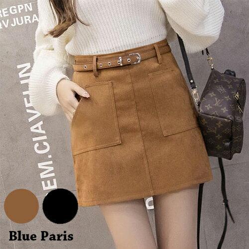 裙子 - 前口袋設計絨皮A字裙(附腰帶)【23308】藍色巴黎《2色:M~L》現貨+預購 0