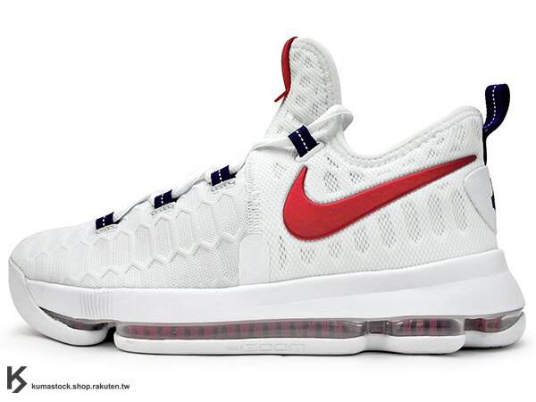 [24cm] 2016 得分王 雷帝 NIKE ZOOM KD 9 IX EP GS USA 大童鞋 女鞋 奧運 白深藍紅 美國隊 FLYKNIT 襪套包覆鞋面 AIR KD 5 35 (855908-160) !