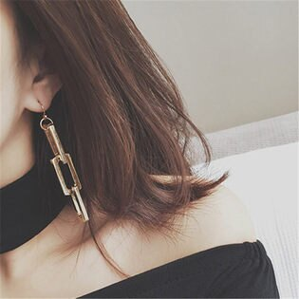 PS Mall 韓版直運 歐美重工 簡約 金色金屬鏈條設計款耳環 誇張大耳飾品【G2120】