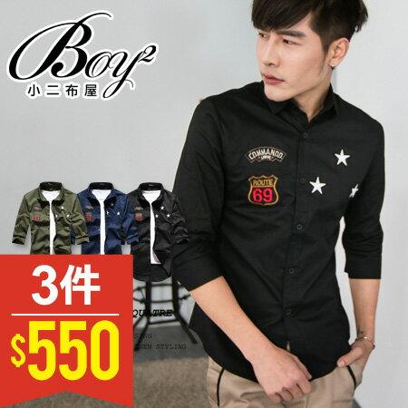 ☆BOY-2☆ 【PPK87015】七分袖襯衫美式潮流星星電繡 0