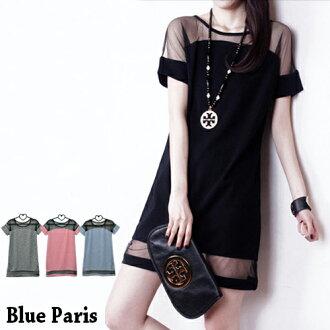短袖上衣 - 韓版拼接網紗洋裝 《3色》藍色巴黎 【11243】 現貨商品