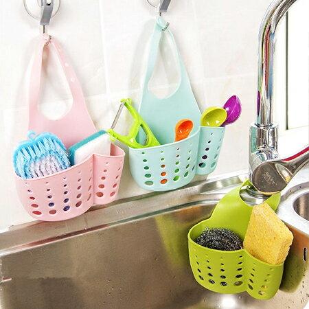 居家創意 加寬塑膠水槽瀝水收納籃 水龍頭 海綿 收納 浴室 置物【N201859】