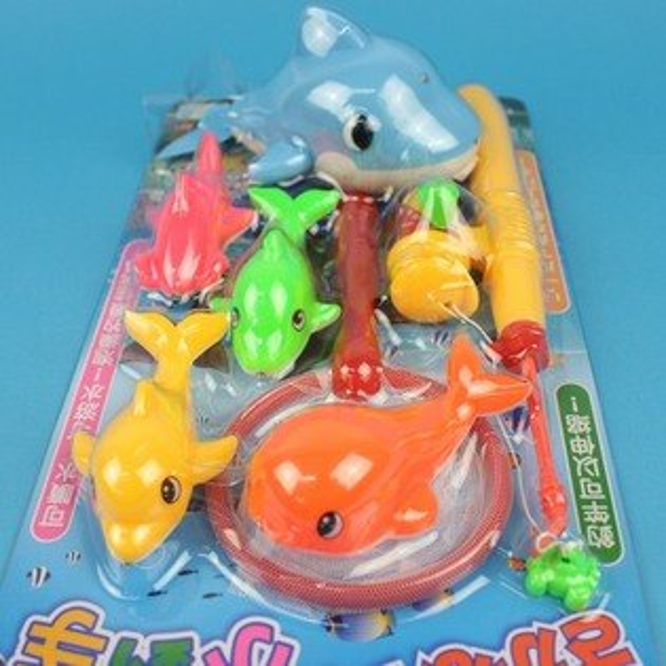 日系釣釣樂 D610 鯨魚會噴水 釣魚組 戲水童玩(7件組入)/一卡入 促[#199]~生ST026