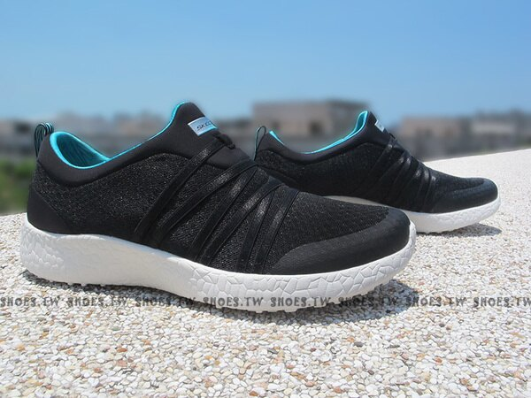 Shoestw【12735BKTQ】SKECHERS 健走鞋 Burst 記憶鞋墊 黑藍 緞帶