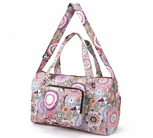 【預購】摺疊收納旅行袋- 出國好良伴! 灰紫幾何 - 限時優惠好康折扣