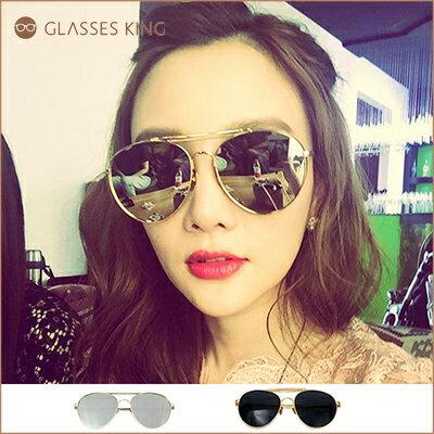 眼鏡王☆范冰冰同款明星時尚型男正妹潮流雷朋金屬造型時尚帥氣反光鏡片太陽眼鏡墨水銀反光白金色S255