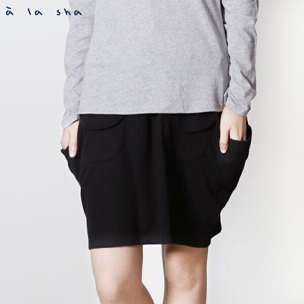 a la sha enco 假口袋線左右口袋造型裙