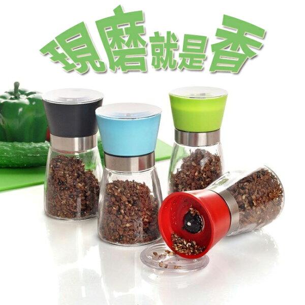 玻璃胡椒研磨器 紅/白/黑/藍/綠/黃 陶瓷研磨機芯/研磨胡椒、玫瑰鹽,各類調味粉/調味罐/研磨罐
