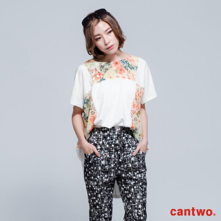 cantwo拼接印花長版T(共二色) 1