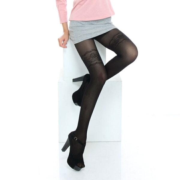 【美麗工場】玫瑰蕾絲假膝上襪