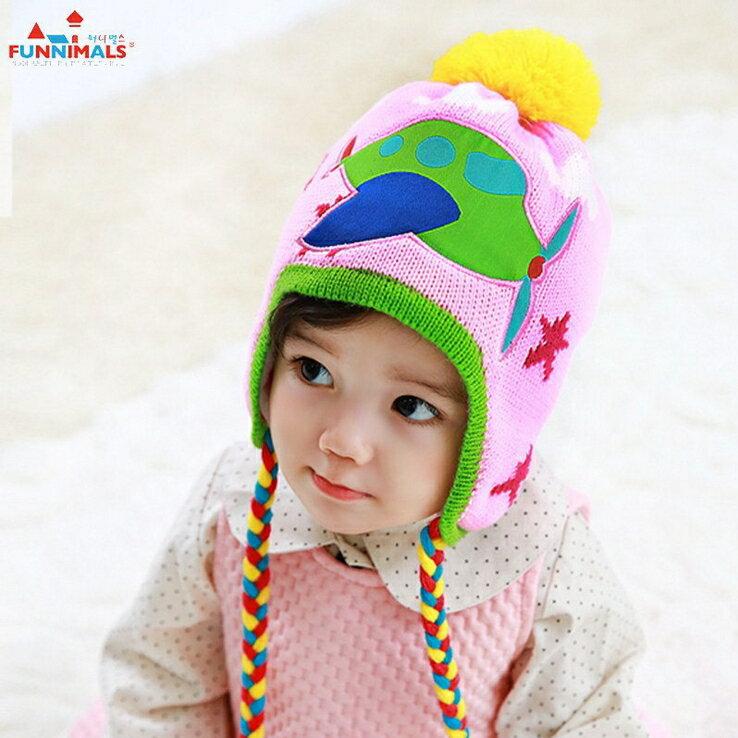 Funnimals◆ 可愛糖果色小飛機雲朵星星彩色辮子毛球兒童保暖毛線護耳帽~粉色