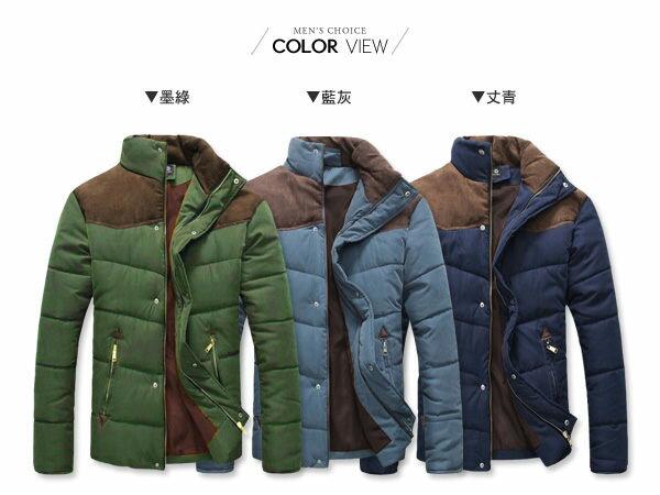 ☆BOY-2☆【NZB08】立領鋪棉外套禦寒拼接麂皮超厚保暖 1