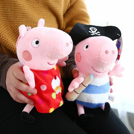 正版 粉紅豬小妹造型娃娃 23cm可掛式 杯子蛋糕 海盜 英國粉紅豬 Peppa Pig 佩佩豬 喬治 玩偶 禮物【N201291】