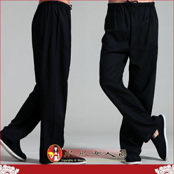 【水水女人國】~中國風男士唐裝~純黑。優質棉麻書卷氣質十足的長褲