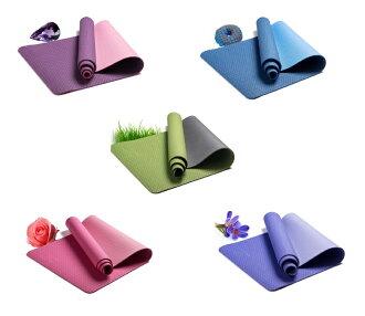 【露營趣】中和 高級 6mm TPE雙層雙色環保瑜珈墊 瑜珈墊 止滑墊 運動軟墊 瑜珈課首選 TNR-111