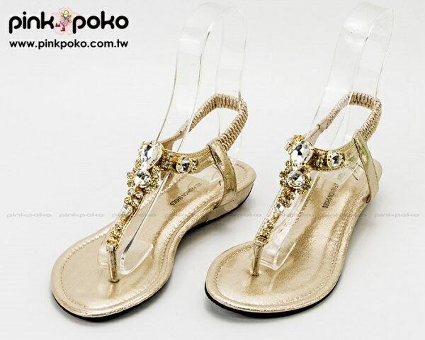 涼鞋 ☆PINKPOKO粉紅波可☆豔夏光芒晶鑽寶石夾腳後鬆緊微坡跟平底涼鞋~2色 #1070