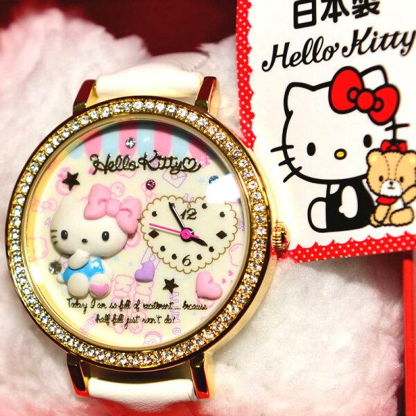 日本製 Hello Kitty 鑲鑽立體造型手錶 日本限定 附精美禮盒 值得收藏