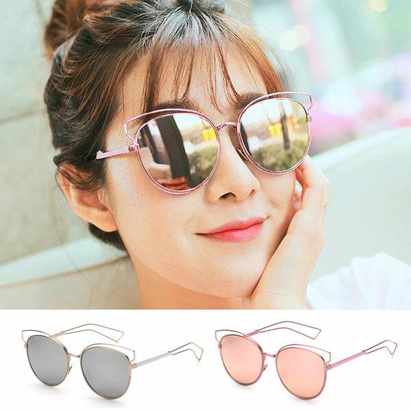 墨鏡 玫瑰金 粉紅 銀 幾何貓眼 金屬簍空細框 造型設計反光鏡面 明星 正韓 太陽眼鏡 Anna S.