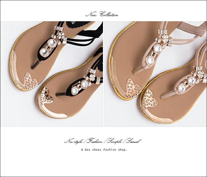 格子舖*【AN322】奢華低調金屬水鑽寶石墜飾質感絨布 鬆緊帶人字夾腳涼鞋 3色 2