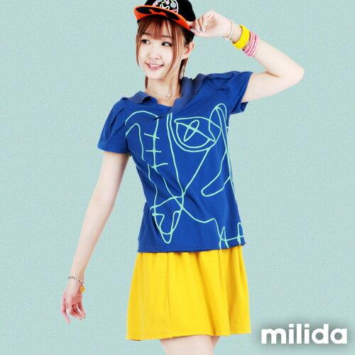 【milida】☆夏季T恤☆v領款☆抽象線條拼貼T