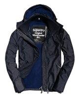 Superdry極度乾燥商品推薦【蟹老闆】SUPERDRY 經典基本款 藍內裡 深藍色 防風外套 防潑水機能性風衣外套 有帽黑標 男款