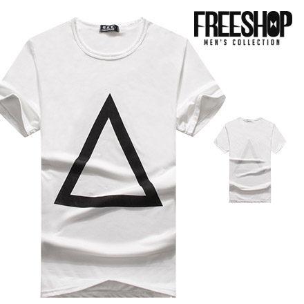 短T Free Shop~QTJT604~日韓風格純白簍空黑色三角框印花圓領棉質短T短袖上