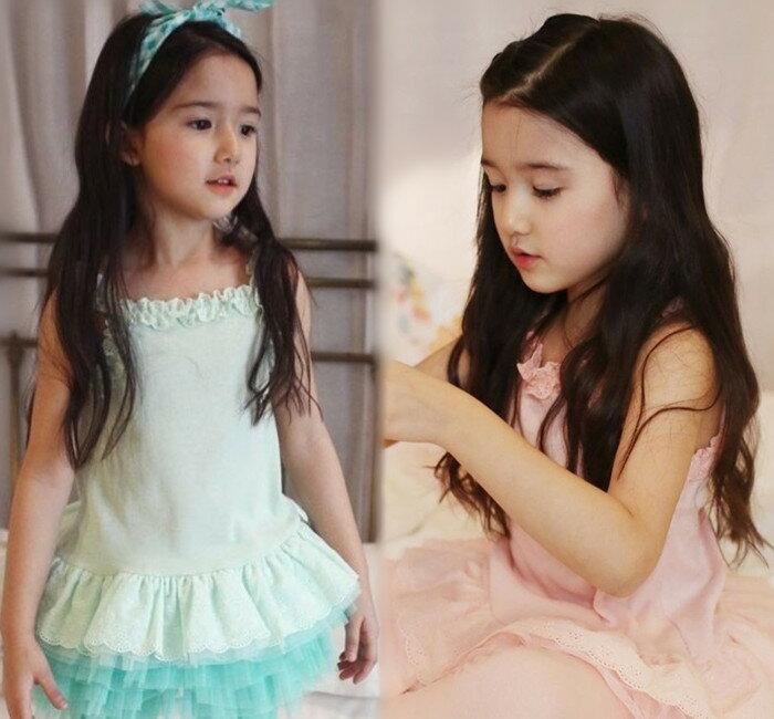 ~貝貝樂SHOW~ 吊帶彈力蓬蓬鏤空花洋裝上衣^~粉色、淺綠色^~正韓pinkideal^
