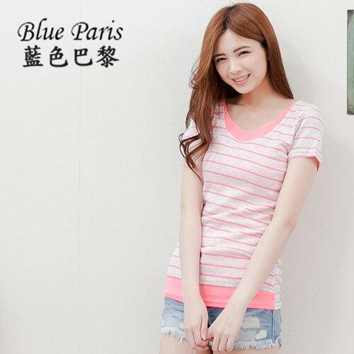 上衣 - 短袖條紋配色假兩件後領標T恤 《5色》 藍色巴黎【11227】 現貨 MIT 0