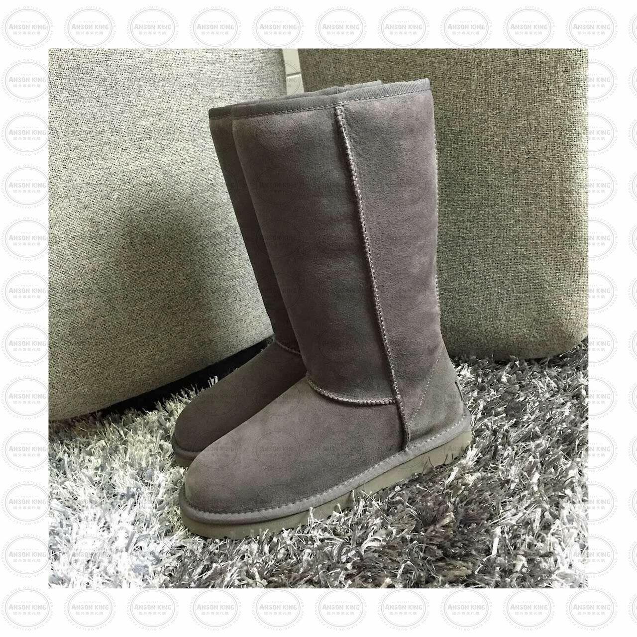 OUTLET正品代購 澳洲 UGG 經典女款羊皮毛一體雪靴 中長靴 保暖 真皮羊皮毛 雪靴 短靴 灰色 0