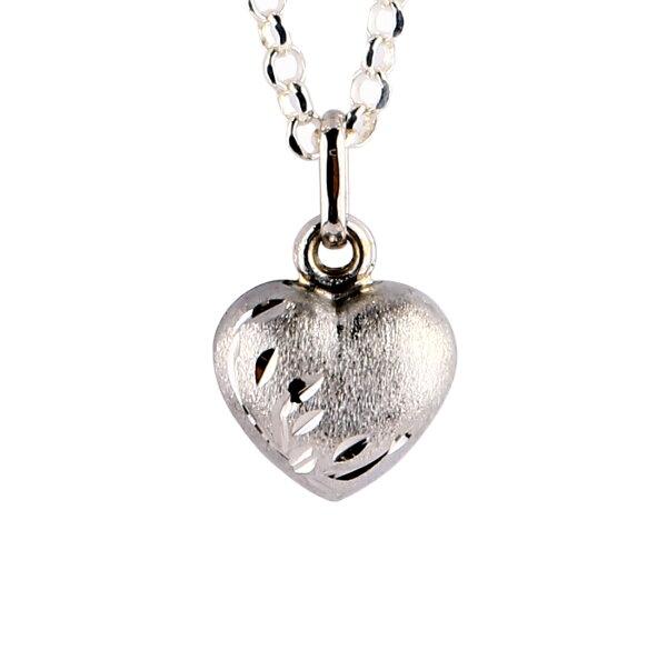 ~樂采珠寶~14白k  心鎖-心項鍊.