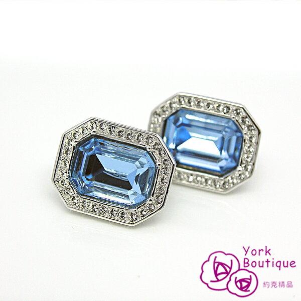 【約克精品】海水藍寶施華洛元素晶鑽包銠金夾式耳環(SGS認證)