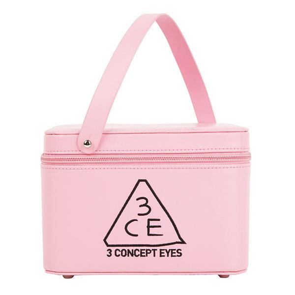 3CE化妝包 - 3CONCEPT EYES 大容量防水專業雙層手提化妝包化妝箱 附鏡子(粉)【庫奇小舖】