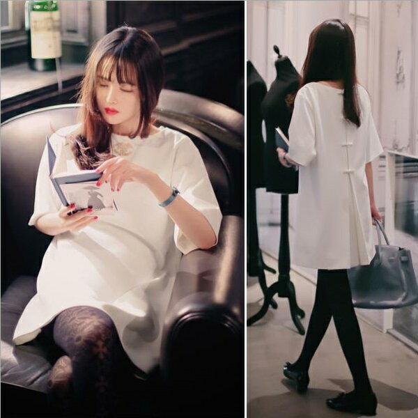 PS Mall 後背蝴蝶結綁帶短袖寬鬆連身裙 洋裝 ~T177~ ~  好康折扣