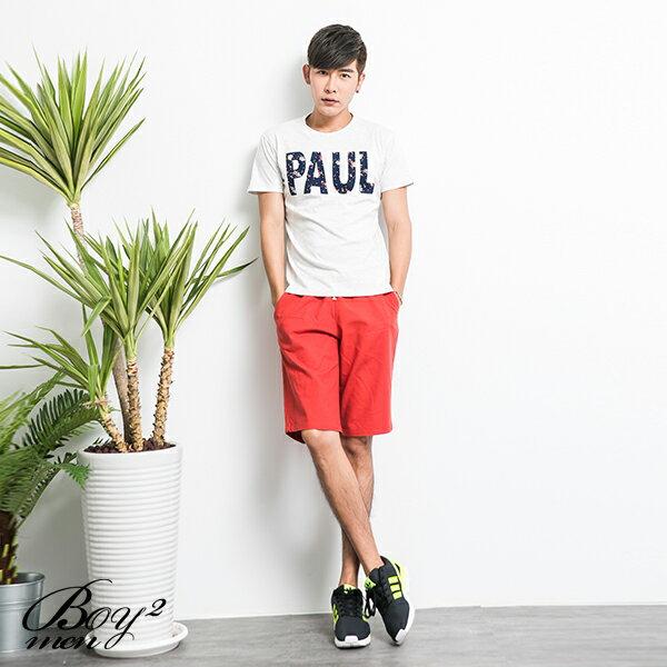 ☆BOY-2☆【KK4793】短袖T恤休閒素面小碎花PAUL印花短T 2