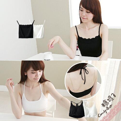 糖罐子綁繩罩杯細肩蕾絲小可愛背心→預購【E23277】 0