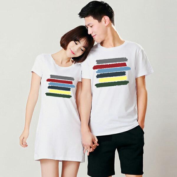◆快速出貨◆T恤.情侶裝.班服.MIT台灣製.獨家配對情侶裝.客製化.純棉短T.六彩橫條【YC007】可單買.艾咪E舖 1
