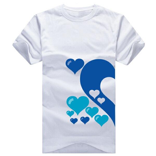 ◆快速出貨◆獨家配對情侶裝.客製化.T恤.最佳情侶裝.獨家款.純棉短T.MIT台灣製.藍色簍空愛心【Y0021】可單買.艾咪E舖 1