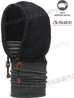 [ Buff ] 羊毛連帽頭巾 Hoodie Thermal Buff 美麗諾羊毛/Polartec保暖刷毛 108111 深灰剪絨